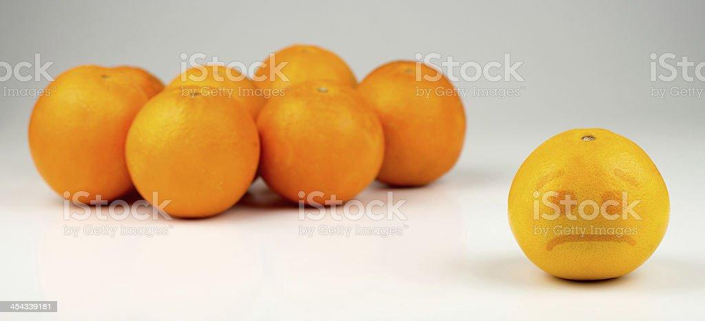 Sad segregated yellowish orange royalty-free stock photo