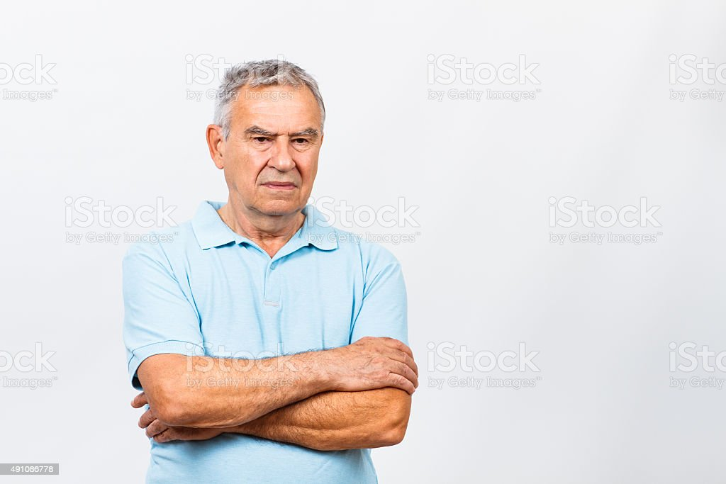 Sad senior man stock photo