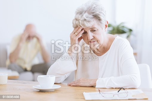 istock Sad senior woman after quarrel 915695466