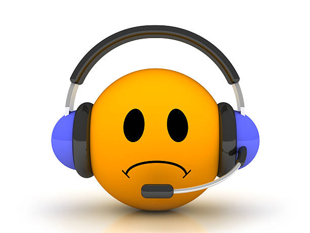 sad  smile in customer support - sad cartoon images stock photos and pictures
