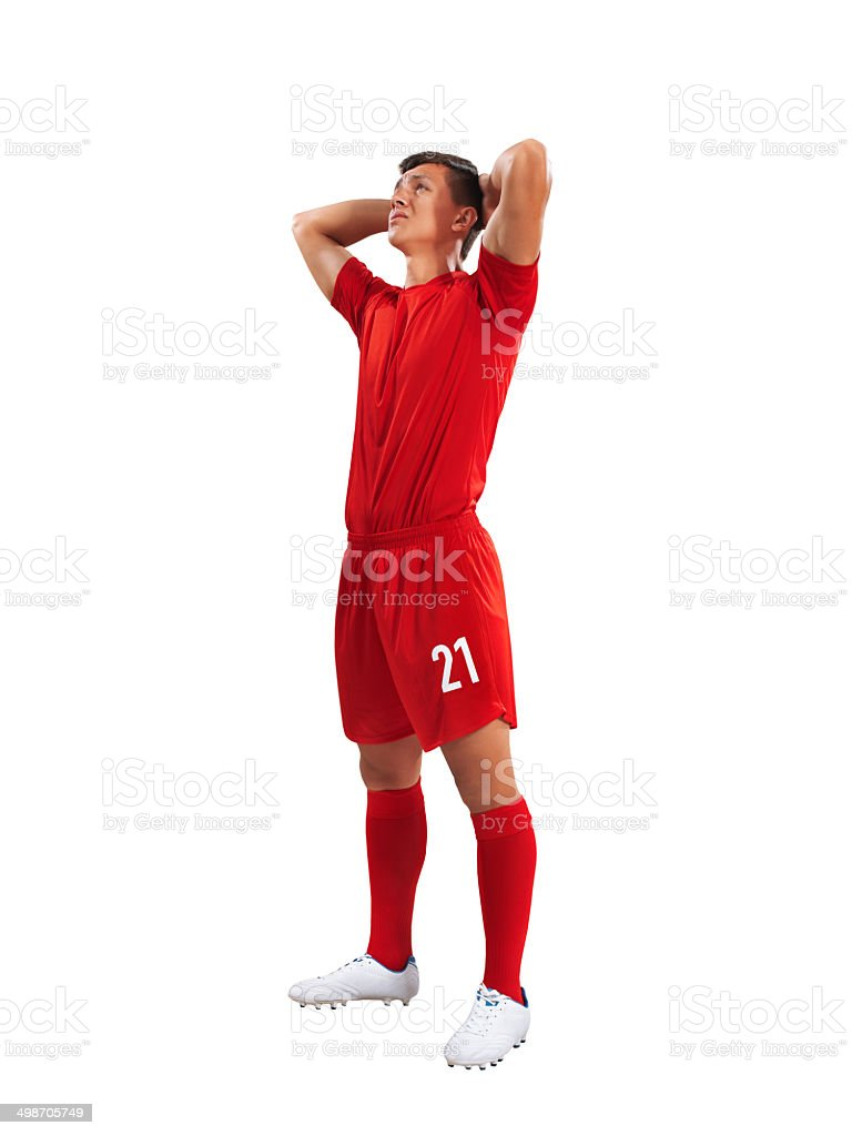 Sad soccer player isolated royalty-free stock photo