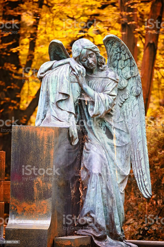 Sad Stone Angel stock photo