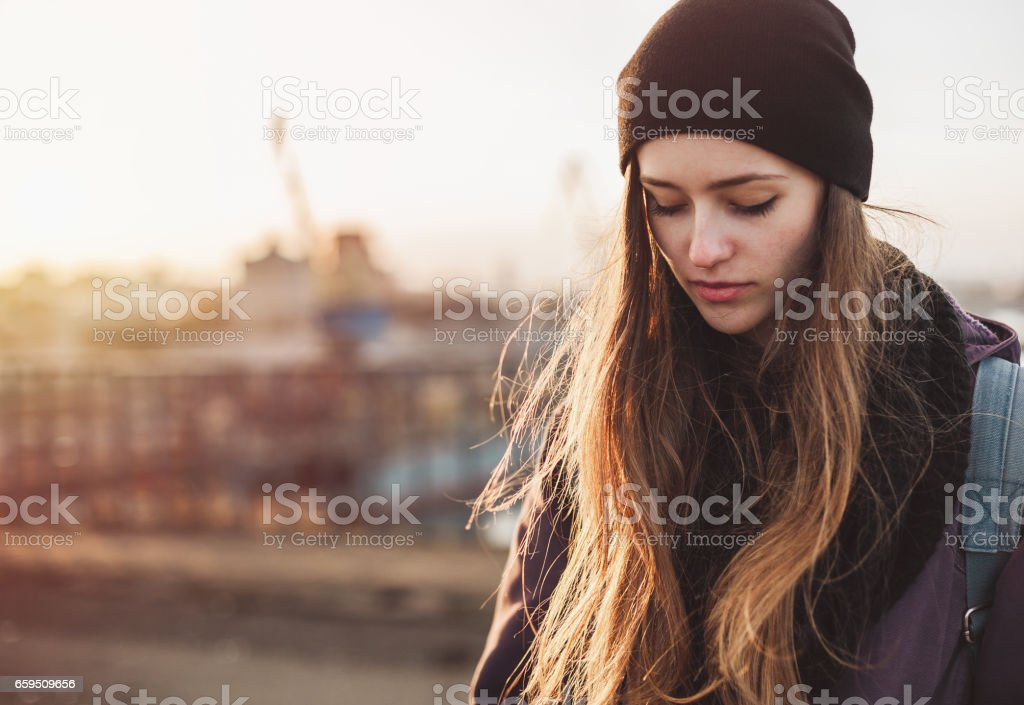 Sad student girl - Photo