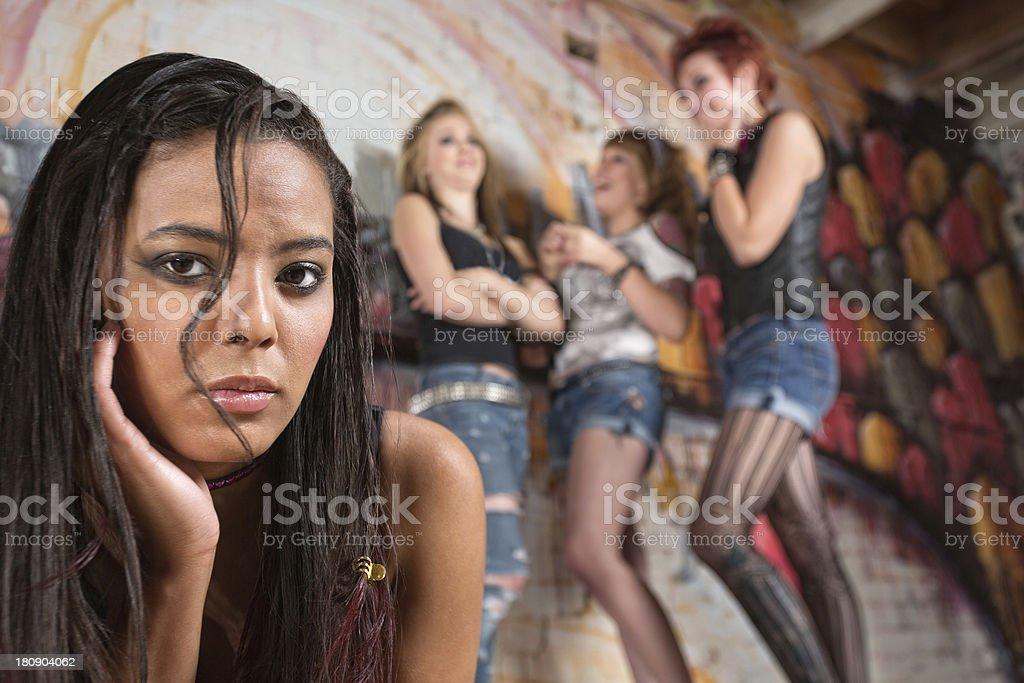Sad Teen Female Near Group royalty-free stock photo