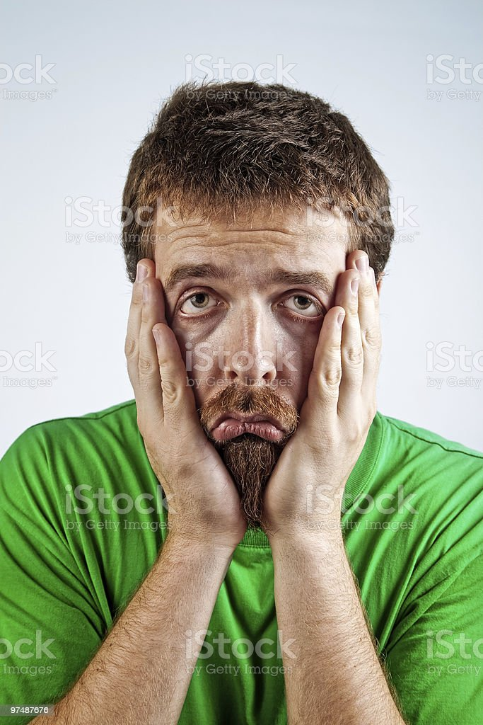 Sad unhappy bored depressed man royalty-free stock photo