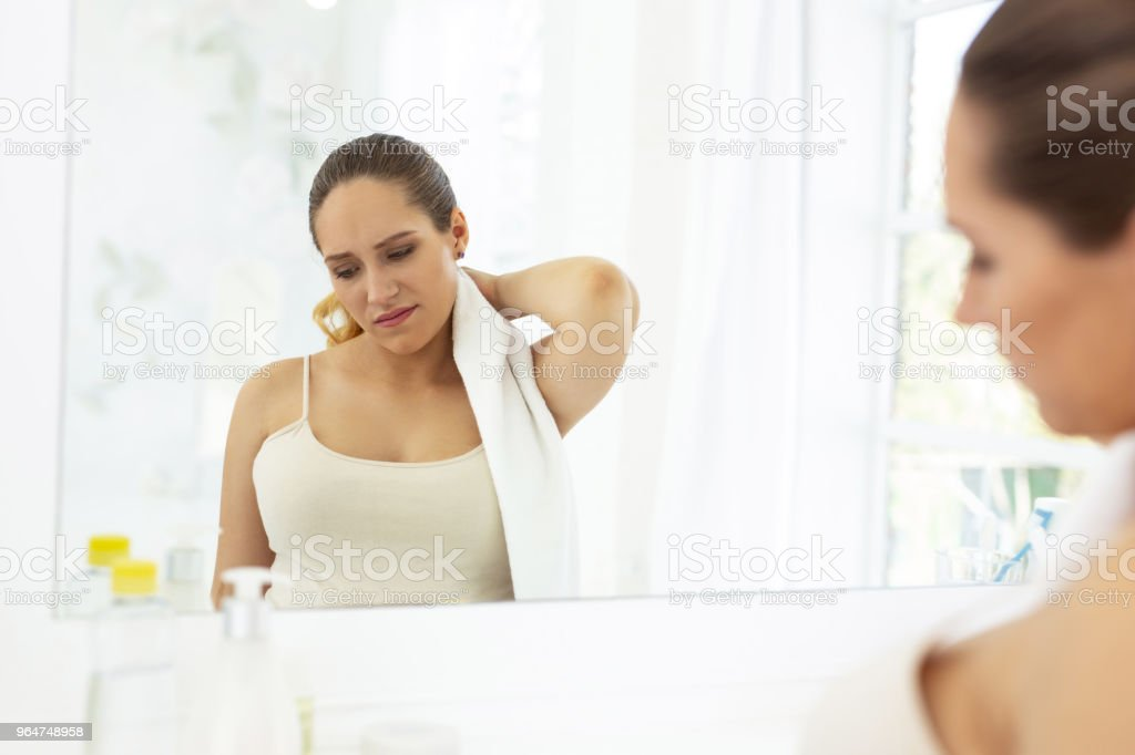 Sad upset woman suffering from discomfort royalty-free stock photo