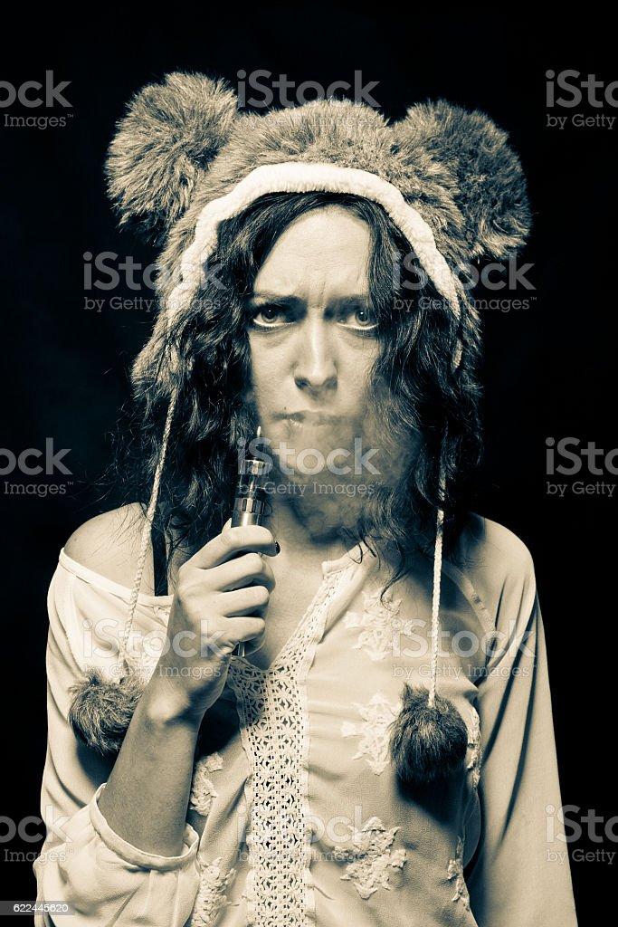 Sad vaporizer smoker stock photo