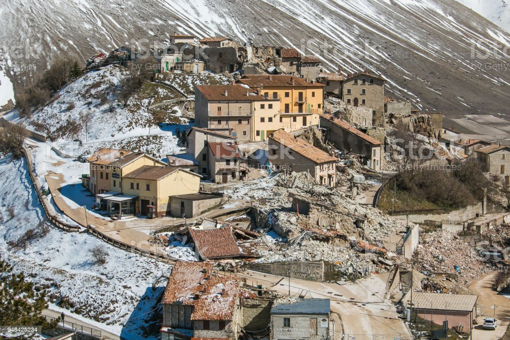Sad view of Castelluccio di Norcia destroyed by earthquake of central Italy stock photo
