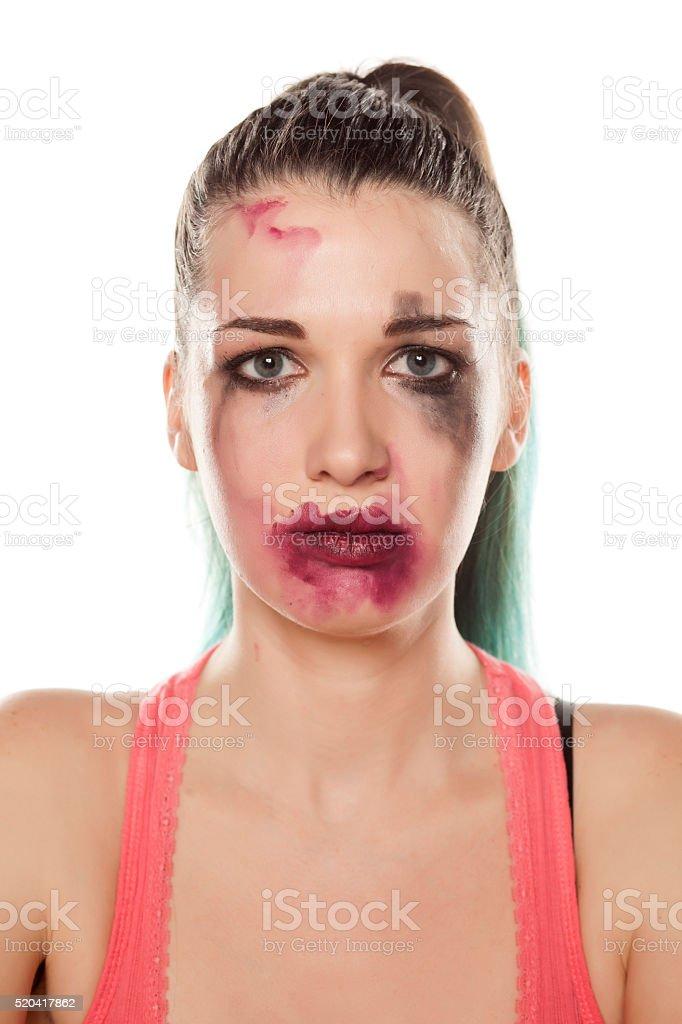 sad with smeared makeup stock photo