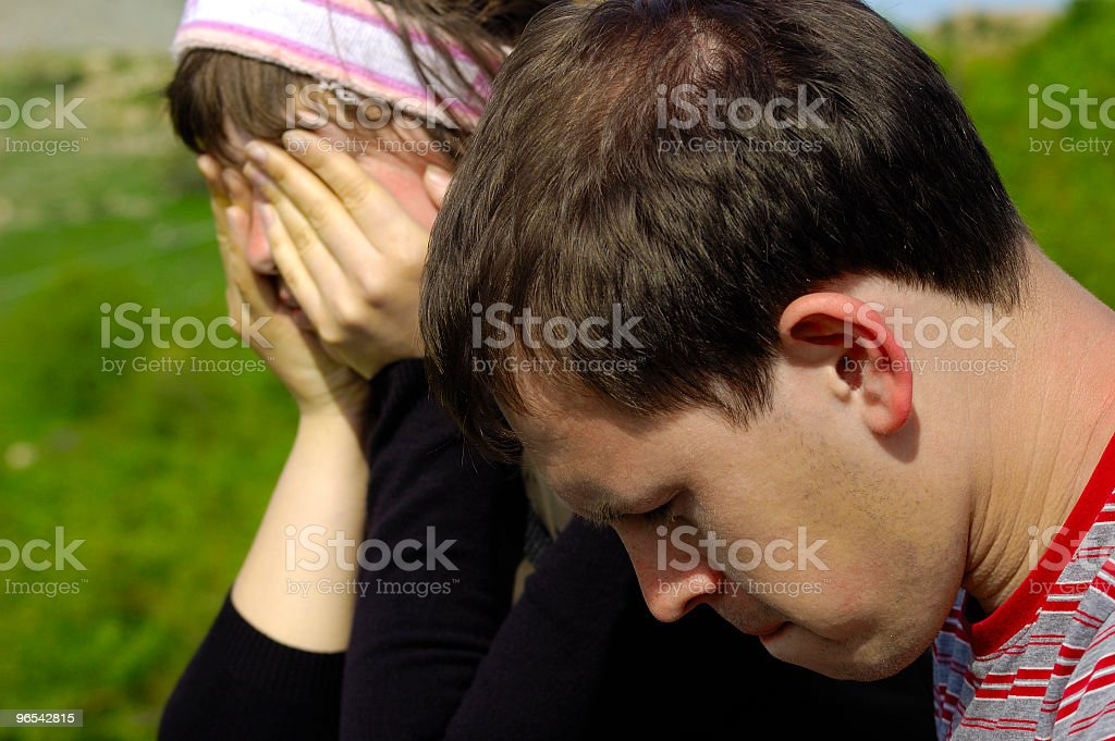 Sad woman and man royalty-free stock photo