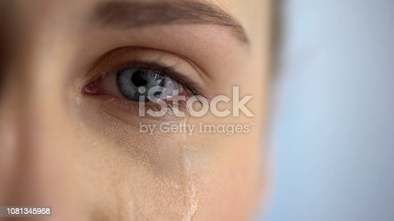 istock Sad woman crying, suffering pain eyes full of tears, domestic violence victim 1081345958