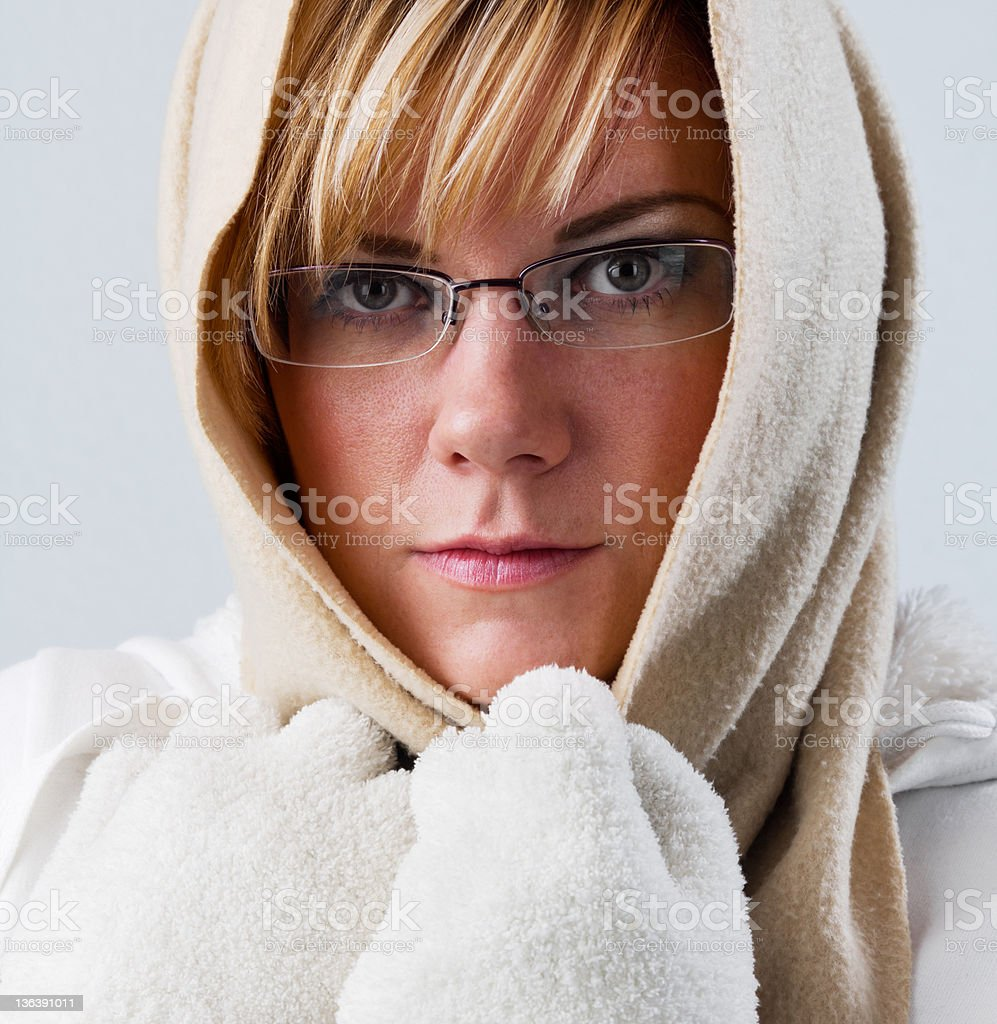 Sad woman in winter is cold, portrait royalty-free stock photo