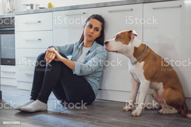 Sad woman sitting on a kitchen floor with her dog picture id988505868?b=1&k=6&m=988505868&s=612x612&h=xj83bgm6tjl9nmdluzf3cidqda1fe9ezlaeay udhoo=