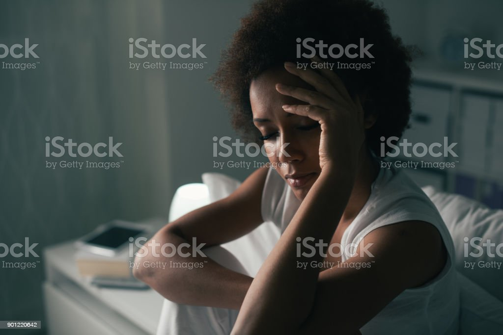 Sad woman suffering from insomnia royalty-free stock photo