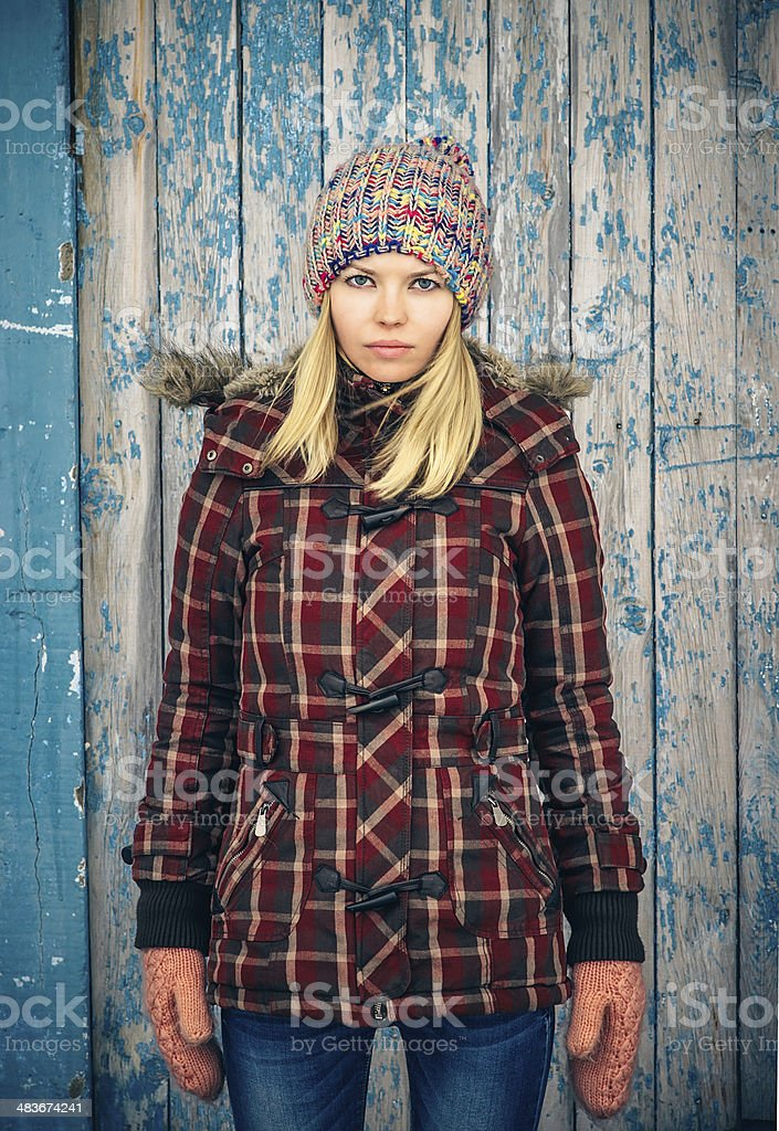 Sad Woman wearing knitted hat and mittens trendy scandinavian Lifestyle stock photo