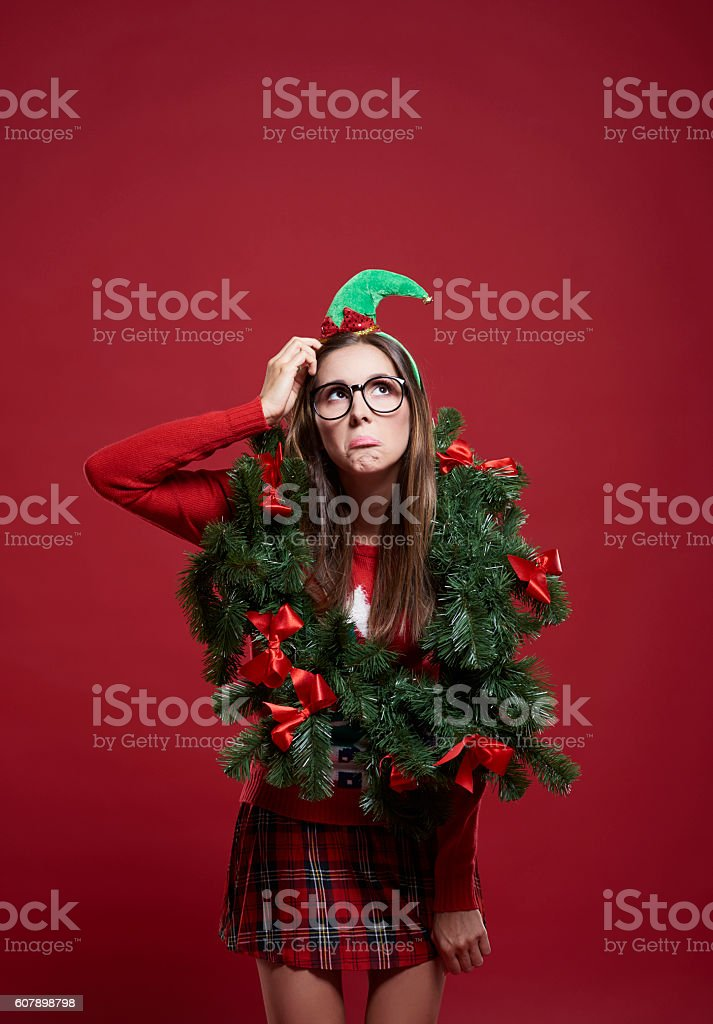 Sad woman with Christmas problems stock photo