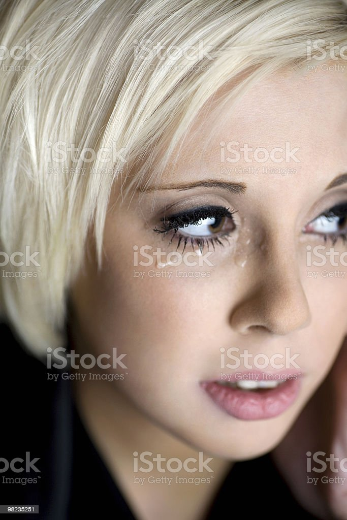 Sad woman with tears royalty-free stock photo