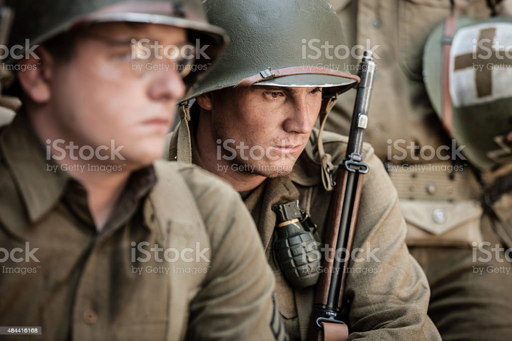 Sad WWII Infantry Soldier stock photo