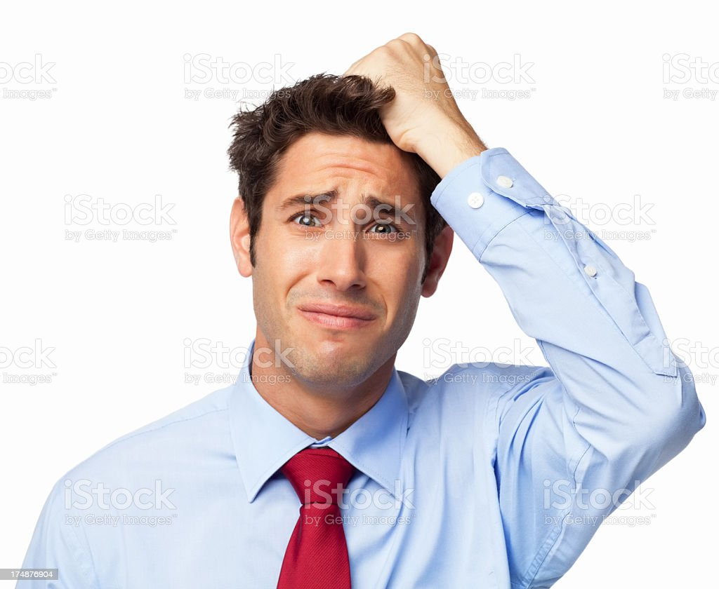 Sad Young Businessman - Isolated royalty-free stock photo