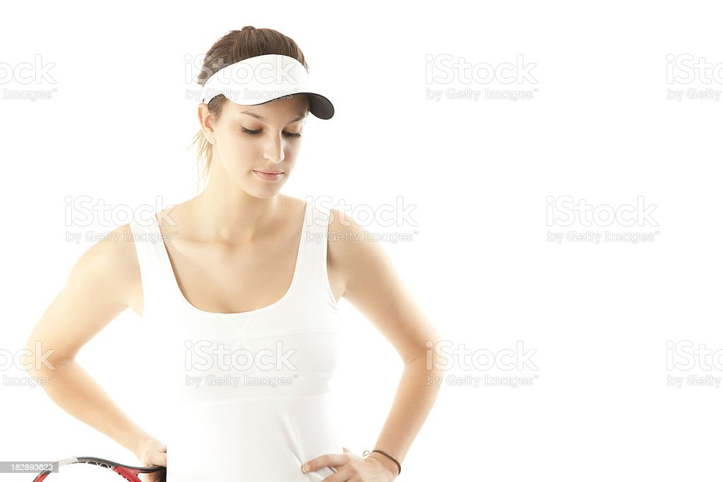 Sad Young Female Tennis Player, Isolated on White royalty-free stock photo