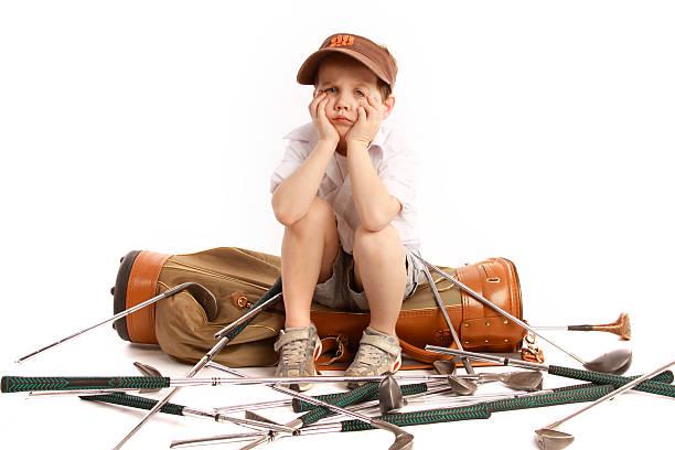 Sad young golfer stock photo
