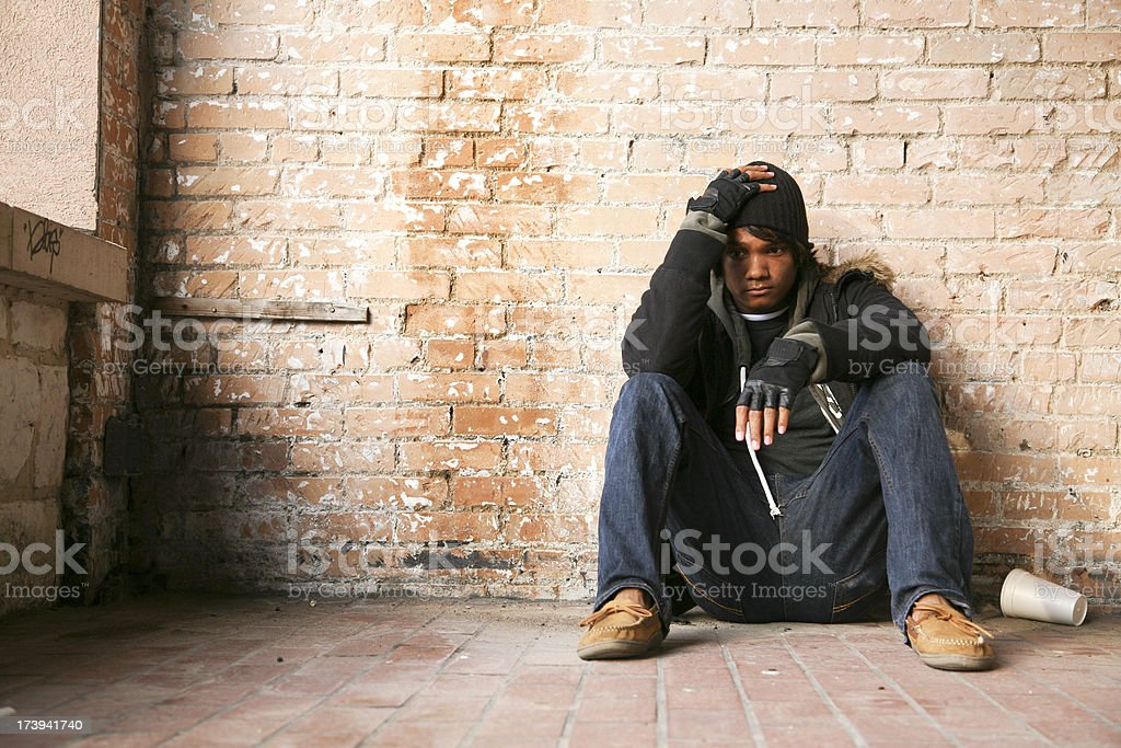 Sad Young Man with hand on his head royalty-free stock photo