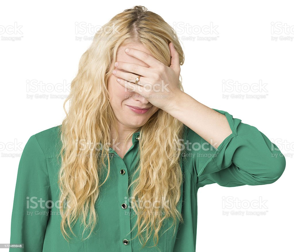 Sad Young Woman Covering Eyes royalty-free stock photo