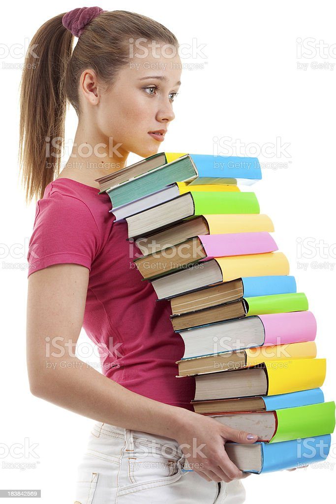 Sad Young Woman Holding Books. royalty-free stock photo
