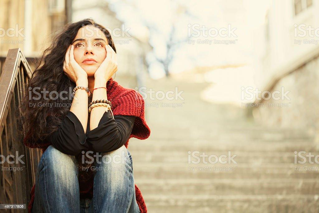 悲しい若い女性 ロイヤリティフリーストックフォト