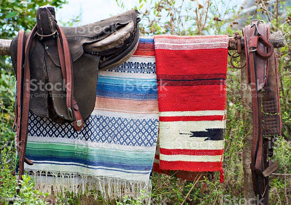 Saddle and blanket stock photo