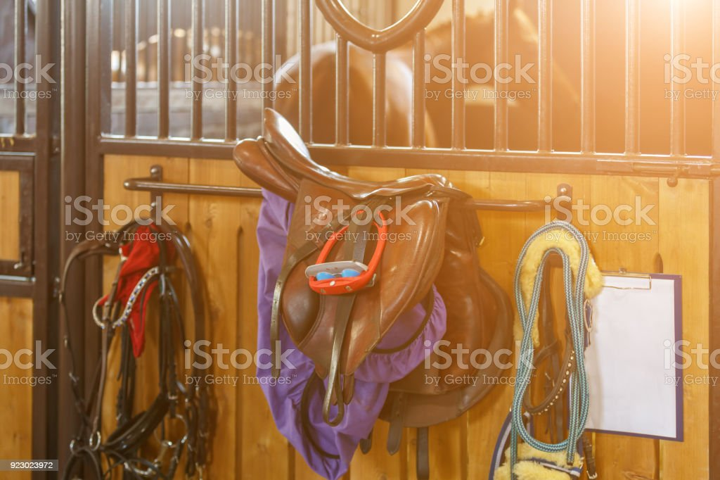 Saddle and bridle hang on the door of the stable stock photo