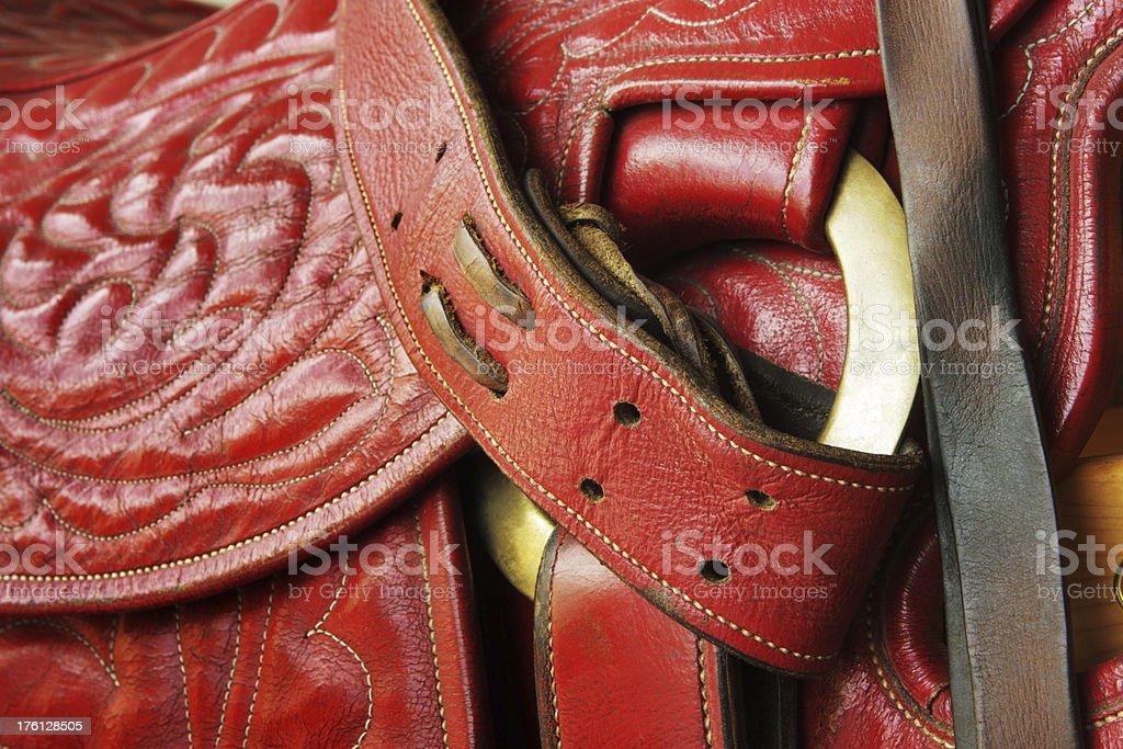 Saddle Leather Cowboy Riding Tack stock photo