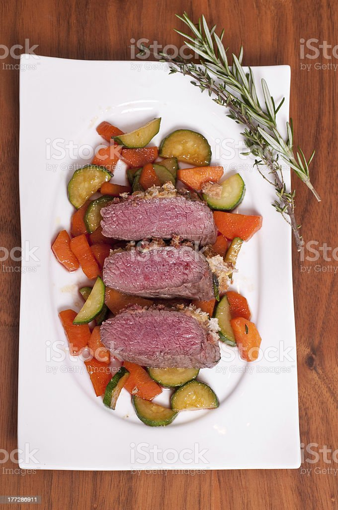 Saddle of a lamb with rosmary and thyme royalty-free stock photo