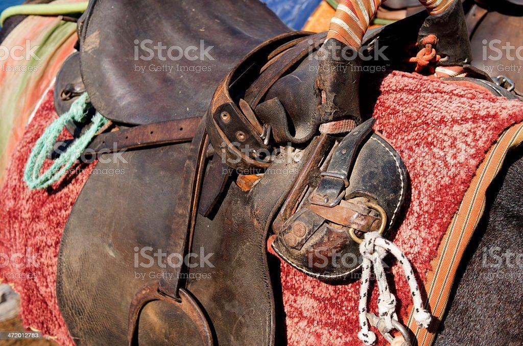 Saddle on a donkey. royalty-free stock photo