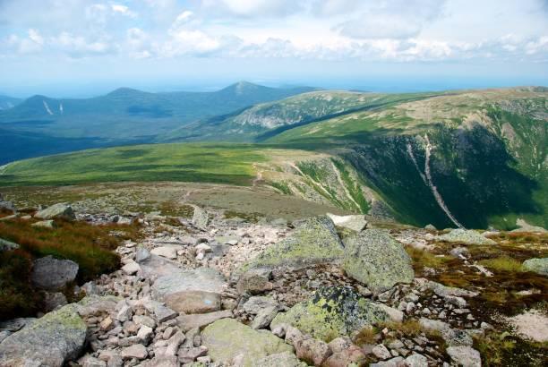 Saddle Trail Along Ridge Leading to Summit of Mt. Katahdin stock photo