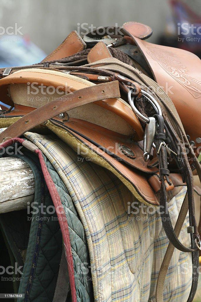 Saddle Up / Horse Equipment  close-up royalty-free stock photo