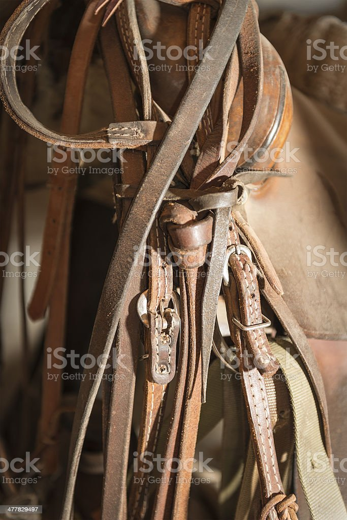 Saddle with other tack stock photo