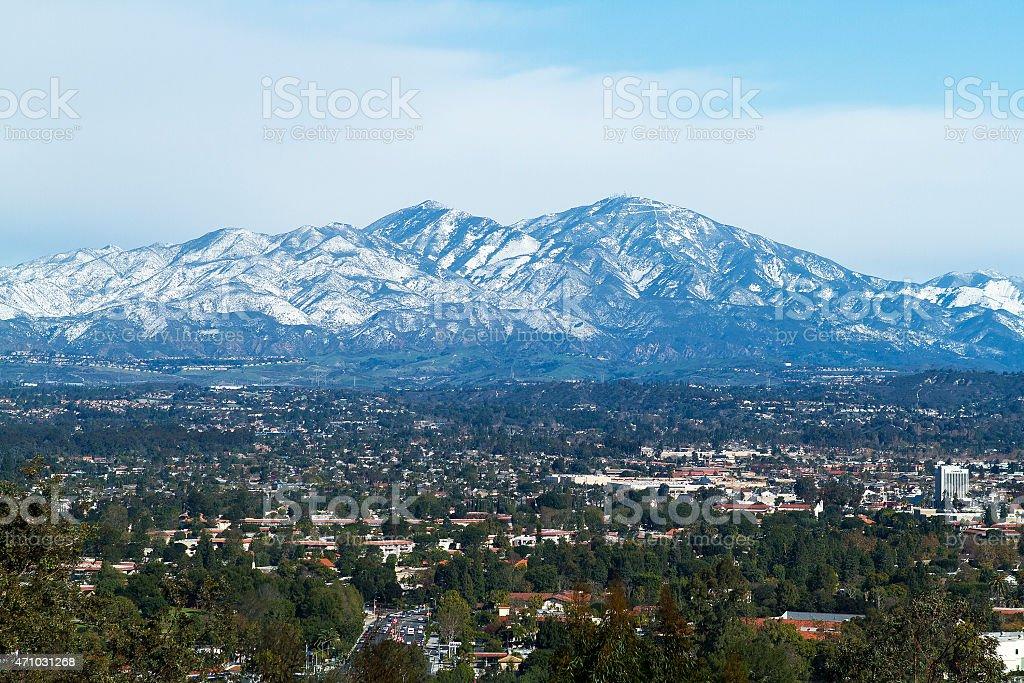 Saddleback Mountain with Snow stock photo