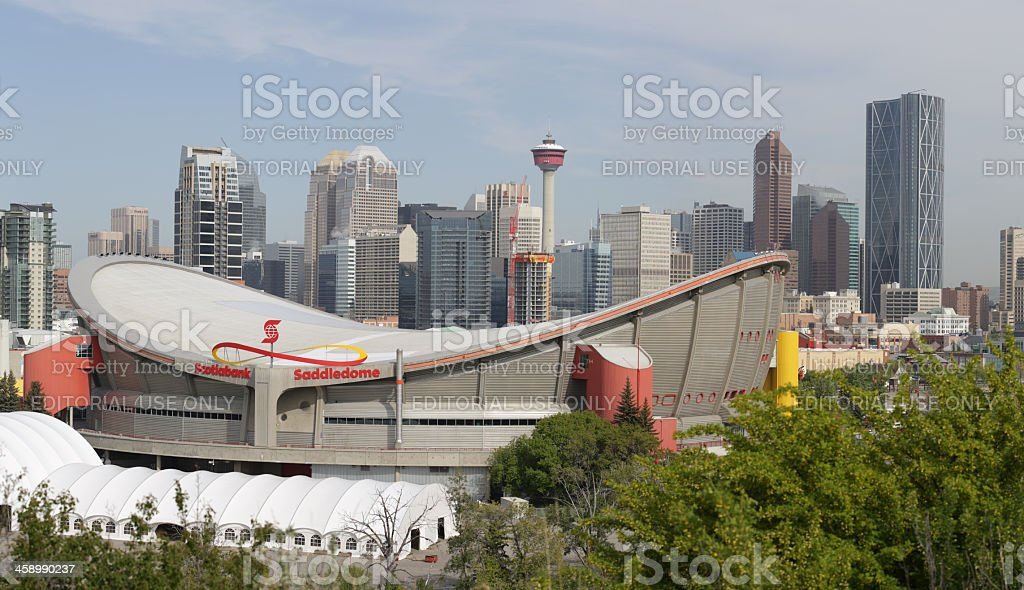 Saddledome, Stampede Park and Downtown Bulidings in Calgary, Alberta, Canada stock photo