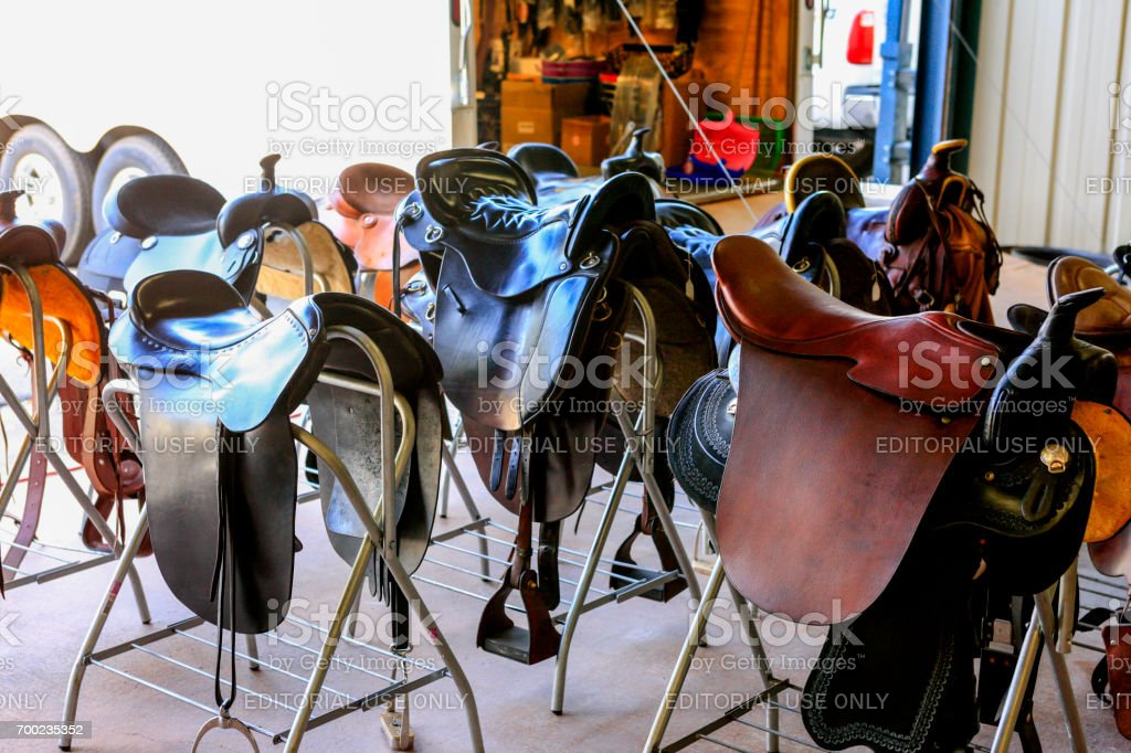 Saddles for sale at a sales event in Lexington, KY, USA stock photo