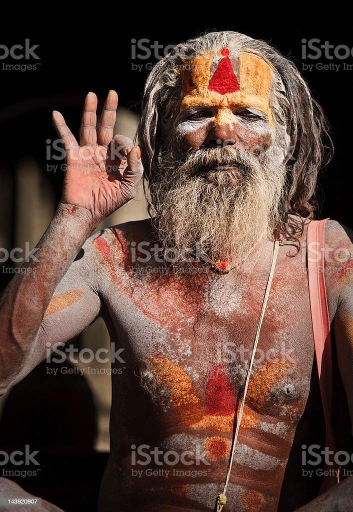 Sadhu - holy man ash covered stock photo