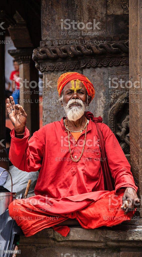 Sadhu - holy man in Nepal stock photo