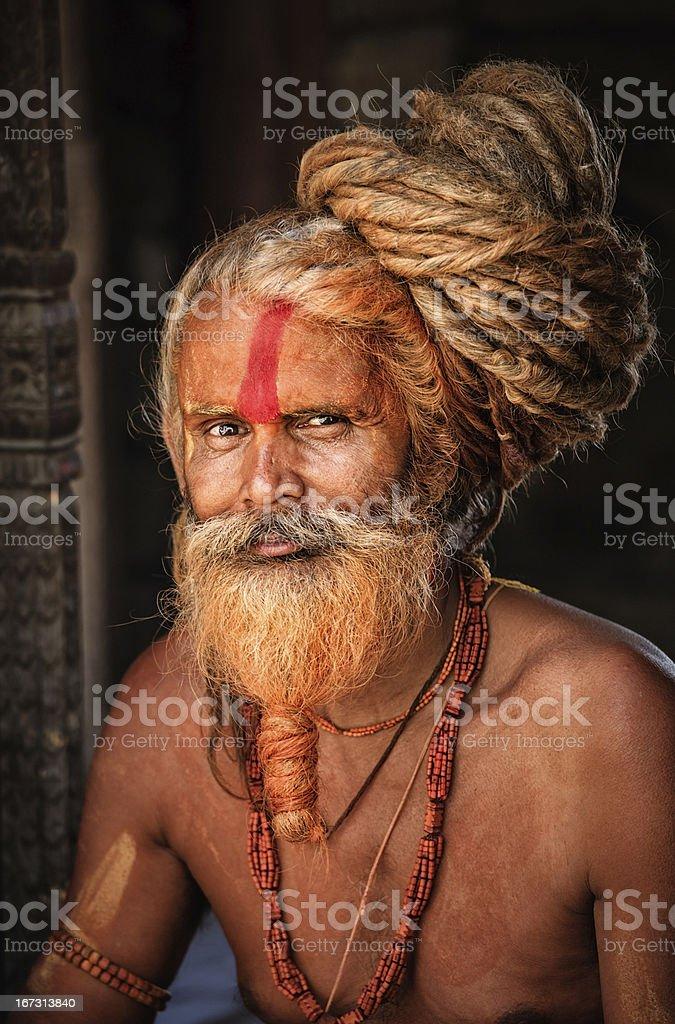 Sadhu - holy man with dreads looking at camera stock photo