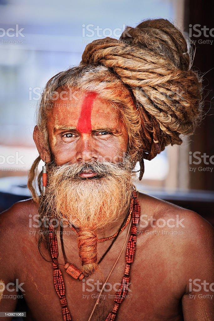 Sadhu - holy man with dreads stock photo