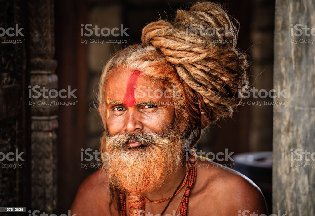 Sadhu - holy man with dreads stock photo
