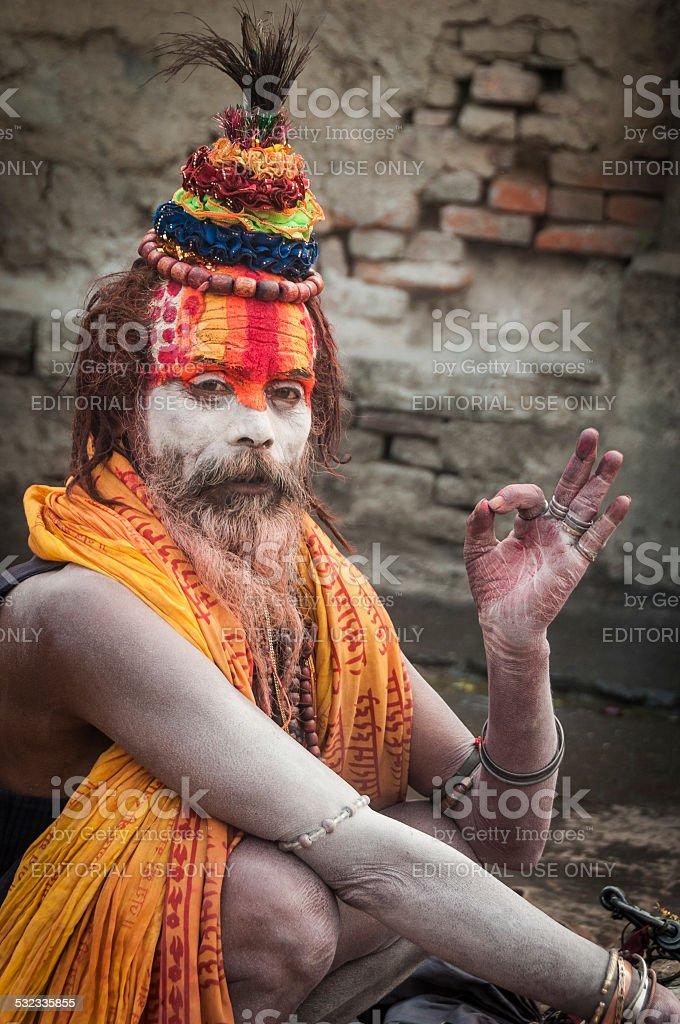 Sadhu in Ceremonial Makeup at Maha Shivaratri Festival, Pashupatinath, Kathmandu stock photo