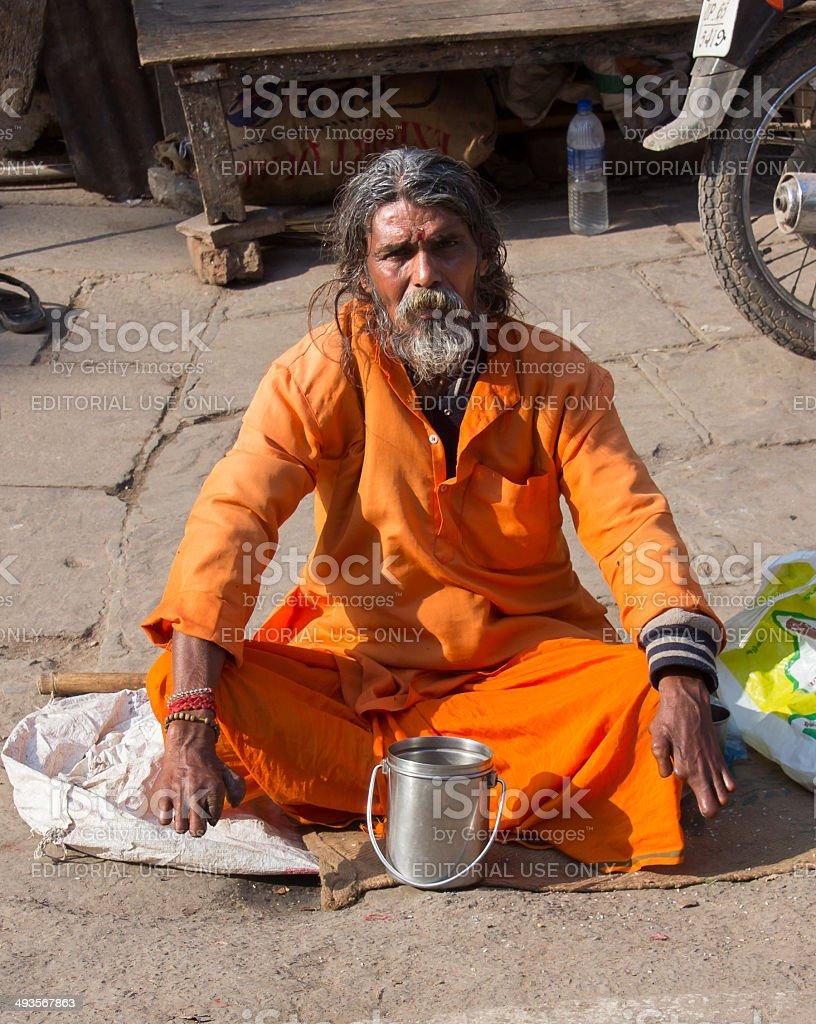 Sadhu in Varanasi stock photo