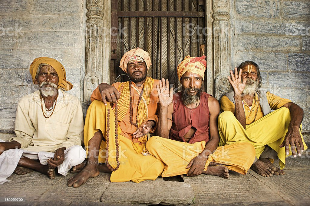 Sadhu - indian holymen sitting in the temple royalty-free stock photo
