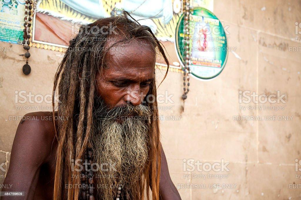 Sadhu - portrait of indian holyman royalty-free stock photo