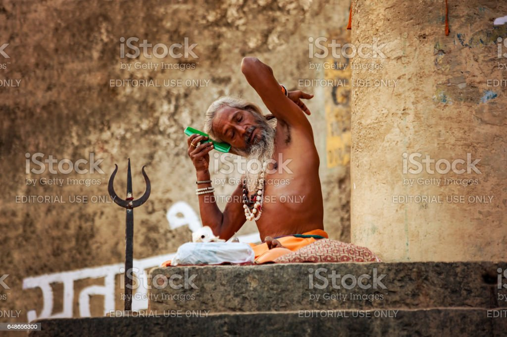 Sadhu, Varanasi, India. stock photo